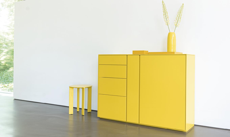 Schönbuch Design Schranksystem Stripes Holz gelb puristisch individuell Jehs + Laub Schönbuch design modular system Stripes Holz yellow puristic individual Jehs + Laub